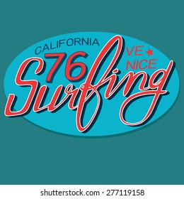 surfing typographic for t-shirt,tee graphic,vector