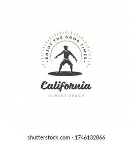 Surfing typography slogan and bear on surf silhouette vector illustration. California, enjoy the good times message.