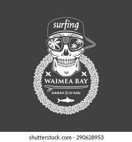 Surfing vector emblem with hawaiian lei, surfboard, shark and skull cap and sunglasses.