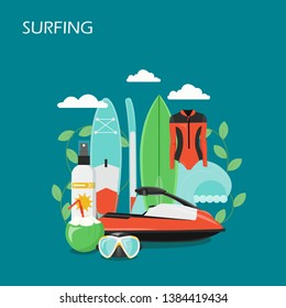 Surfing vector flat style design illustration. Surfboard, wetsuit, mask, water scooter, sunscreen, coconut cocktail and ocean wave. Surfing equipment, clothing and accessories for web banner, webpage.