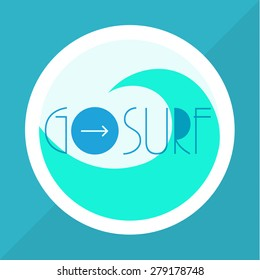 Surfing vector illustration with a wave and place for your text