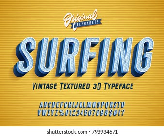 """Surfing"" Vintage 3D Alphabet. Retro Typeface. Vector Font Illustration"
