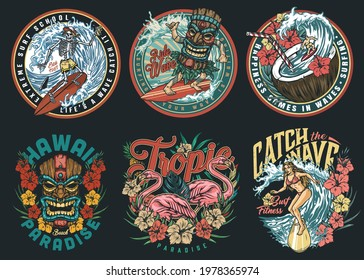 Surfing vintage colorful labels with skeleton pretty woman and man in tiki mask surfers exotic flowers leaves pink flamingo boy riding wave in coconut with straw isolated vector illustration