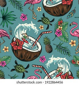 Surfing vintage colorful seamless pattern with exotic flowers and leaves pineapple flamingo turtle elegant feathers surfer riding wave in coconut with straw vector illustration