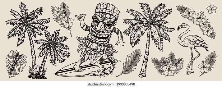 Surfing vintage composition with exotic beautiful flowers and leaves palm trees flamingo surfer in hawaiian tiki mask riding wave and showing shaka gesture isolated vector illustration