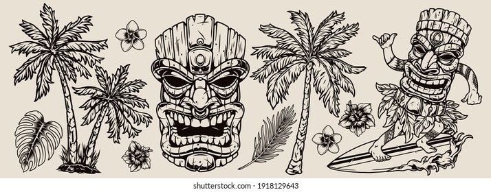 Surfing vintage composition with palm trees plumeria hibiscus flowers monstera leaves surfer in tiki mask riding wave and showing shaka gesture isolated vector illustration