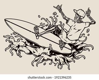 Surfing vintage concept with skeleton surfer showing shaka gesture and riding wave in monochrome style isolated vector illustration
