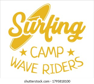 Surfing vintage Design,Surfing Camp Wave Riders T Shirt Typography Design Vector Illustration Symbol Icon Logo Design