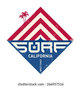 Surfing vintage label. California west coast surfers. Pacific Ocean team. Vector illustration for surf board design.