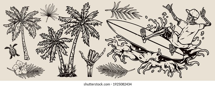 Surfing vintage monochrome composition with exotic flowers leaves palm trees turtle skeleton hand showing shaka gesture and skeleton surfer riding wave isolated vector illustration
