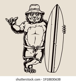 Surfing vintage monochrome concept with cute bear surfer showing shaka gesture and standing with surfboard isolated vector illustration