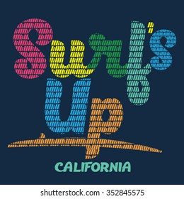 Surfs up .California.Colored t-shirt printing typographic.vector
