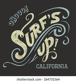 Surf's Up hand-lettering, t-shirt typographic design