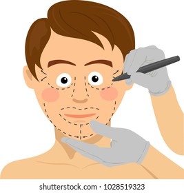Surgeon drawing marks on male face. Plastic surgery concept