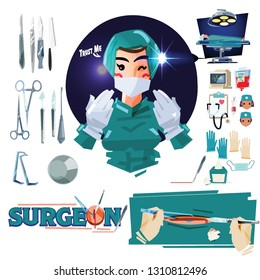 Surgeon with medical icon set in operation room - vector illustration