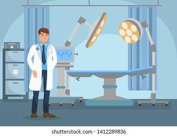 Surgeon in Operating Room Flat Vector Illustration. Medical Staff in Hospital. Doctor with Stethoscope Wearing Professional Uniform Cartoon Character. Clinic Equipment, Surgery Preparation