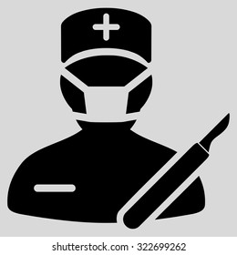 Surgeon vector icon. Style is flat symbol, black color, rounded angles, light gray background.