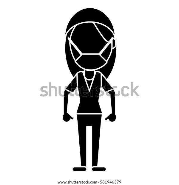 surgeon woman with mask medical stethoscope pictogram