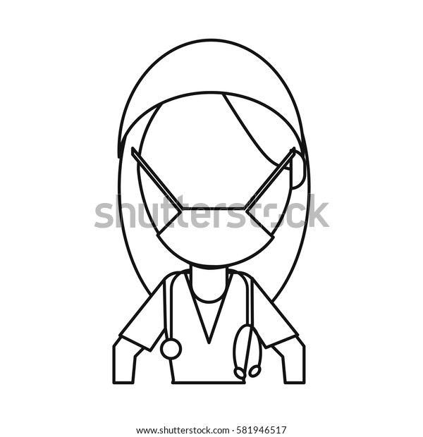 surgeon woman with mask medical stethoscope thin line