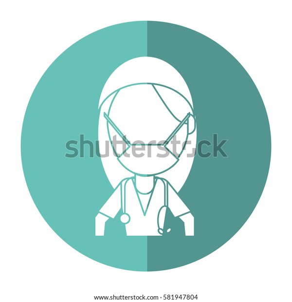surgeon woman with mask medical stethoscope shadow