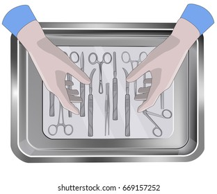 Surgeon's hands above the tray with medical instruments. Hands in gloves and tray with medical tools.