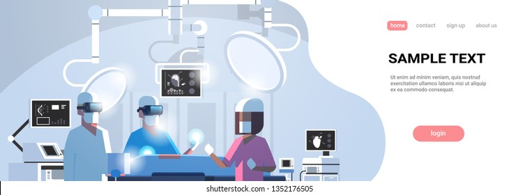 surgeons medical team wearing virtual reality holographic hololens glasses operating patient high tech operation room horizontal portrait copy space