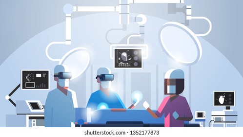 surgeons medical team wearing virtual reality holographic hololens glasses operating patient high tech operation room horizontal portrait