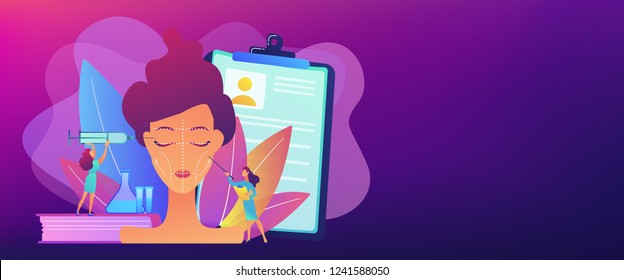 Surgeons with syringe doing facial contouring surgery to woman. Facial contouring, medical face sculpting, facial correction surgery concept. Header or footer banner template with copy space.
