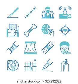 Surgery icon set. Included the icons as medical, operation, solutions, services, hospital, treatment and more.