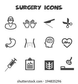 surgery icons, mono vector symbols