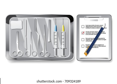 Surgery instruments and tools vector illustration