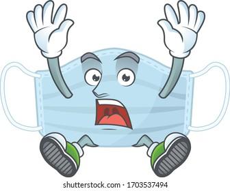 Surgery mask cartoon character design showing shocking gesture