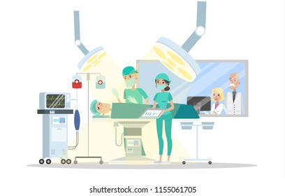 Surgery room in the hospital. Surgeon making operation to the patient lying on the bed and nurse helps him. Emergency medical treatment. Isolated vector flat illustration