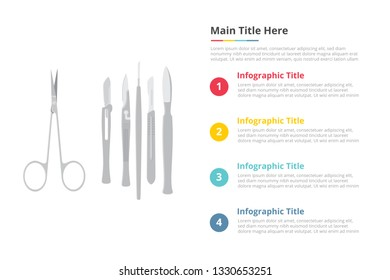 surgery surgical instruments tools infographics template with 4 points of free space text description - vector