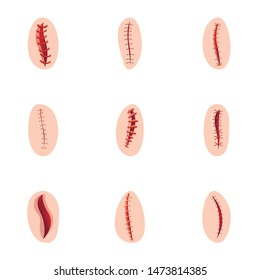 Surgery suture icon set. Cartoon set of 9 surgery suture vector icons for web design isolated on white background