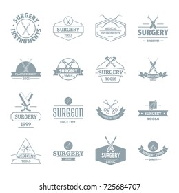 Surgery tools logo icons set. Simple illustration of 16 surgery tools logo vector icons for web