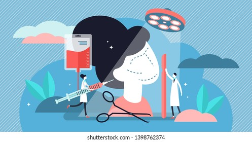 Surgery vector illustration. Flat tiny medical aid procedure person concept. Beauty correction operation tool and equipment. Facial cosmetic plastic examination patient. Professional healthcare clinic
