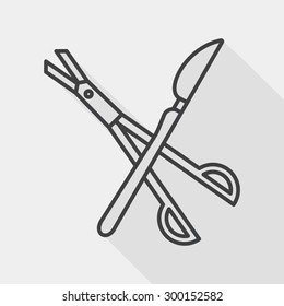 Surgical Instrument flat icon with long shadow, line icon