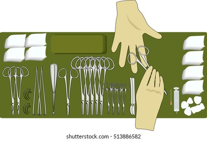 surgical instruments and hands of doctors