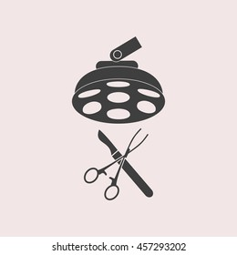 Surgical instruments web icon. Isolated illustration