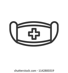 surgical mask and cross sign, simple outline icon