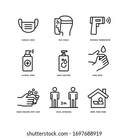 Surgical Mask, Face Shield, Alcohol Spray, Social Distancing, Infrared Thermometer, Hand Sanitizer, Hands Wash, Hands Washing With Soap and Work From Home. Coronavirus safety measures icons set.