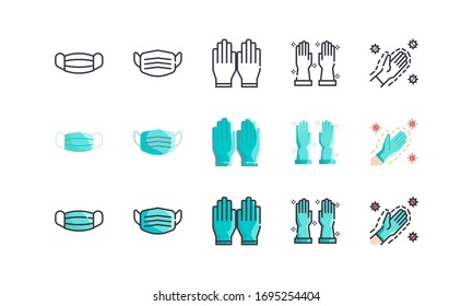 Surgical Mask And Medical Gloves. Covid-19, Coronavirus Disease 2019 Prevention. Line Outline, Flat, Filled Icons Set. Editable Stroke. Vector illustration EPS 10.