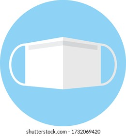 Surgical mask vector icon.Face mask vector icon. round icon.