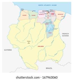 suriname administrative map