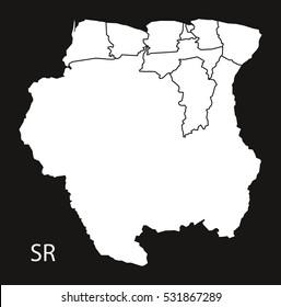 Suriname districts Map black illustration
