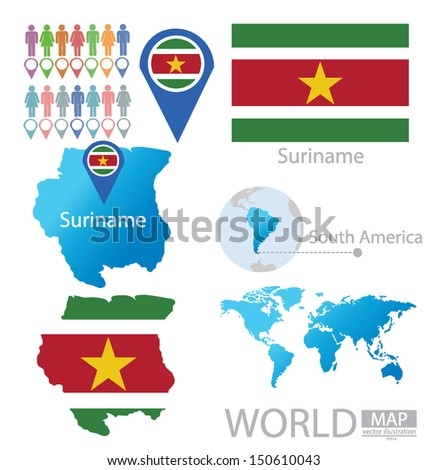 Suriname Flag World Map Vector Illustration Stock Vector Royalty