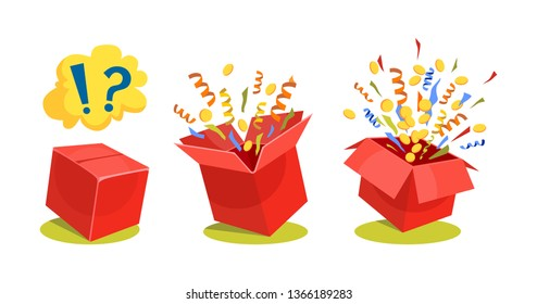 Surpise box animation vector illustration. Vector red box with coins, confetti and ribbons. Sale and discount surprise box for ui, web, print design etc. Vector box set with confetti.