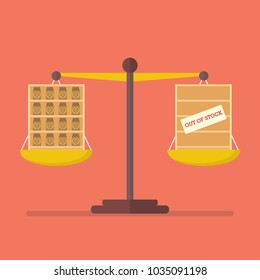 Surplus and Shortage balance on the scale. Business Concept
