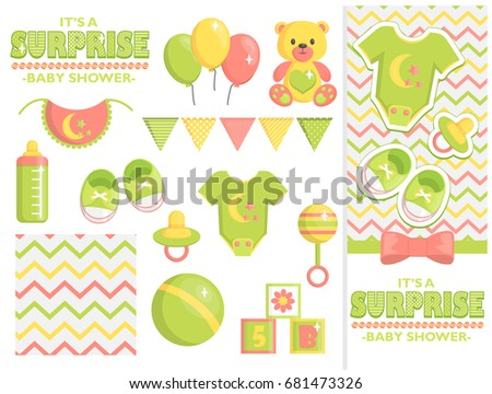 Surprise Baby Shower Items Collection Party Stock Vector Royalty